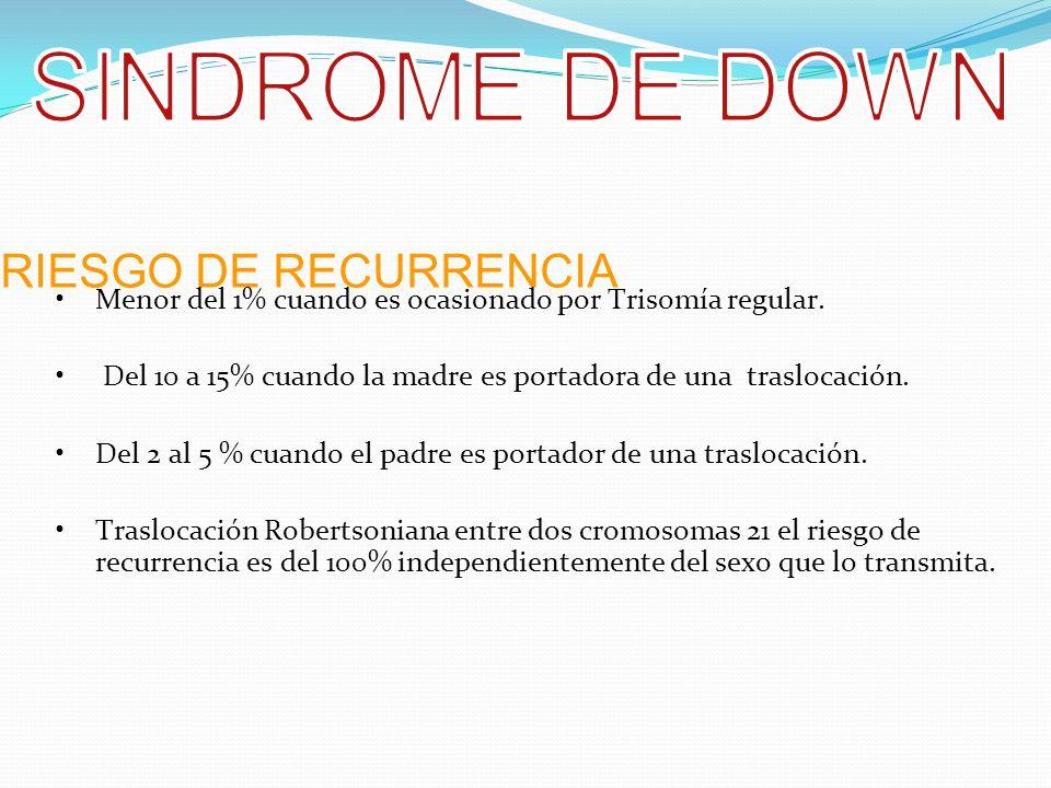SINDROME DE DOWN RIESGO DE RECURRENCIA