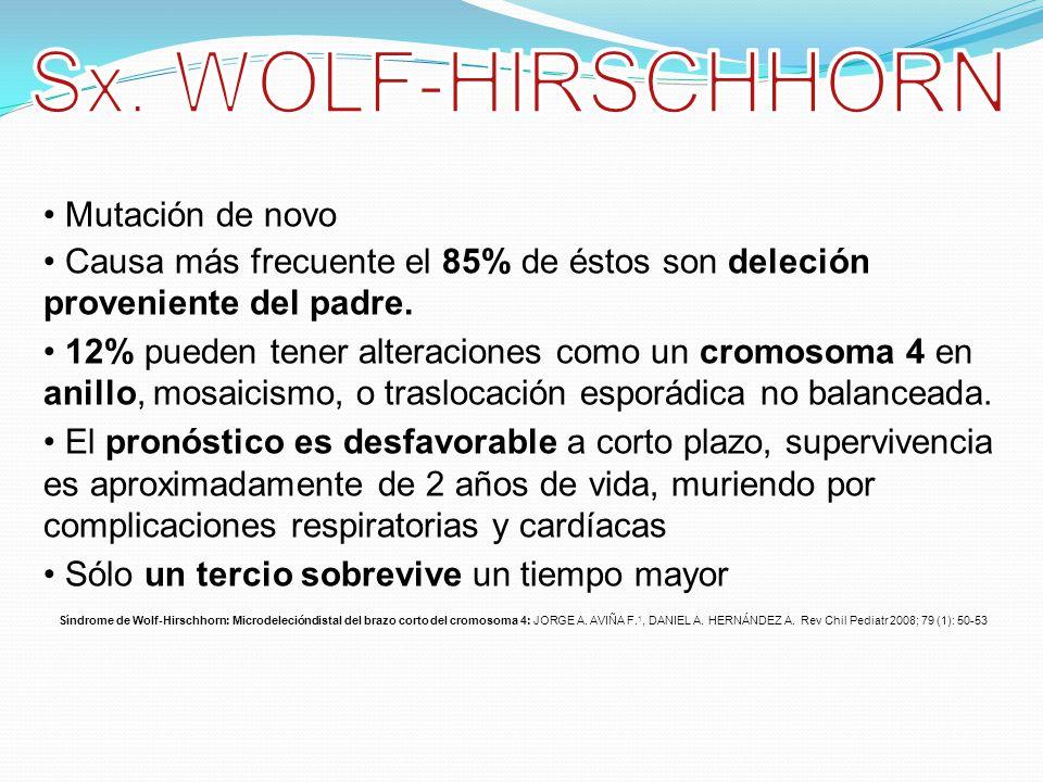 Sx. WOLF-HIRSCHHORN Mutación de novo