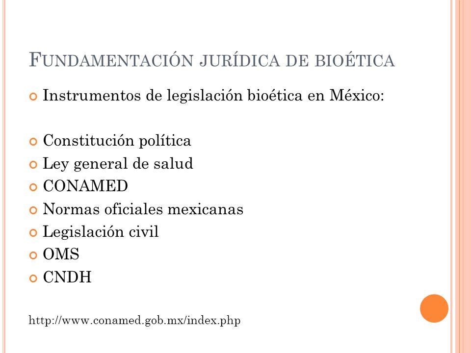 Fundamentación jurídica de bioética