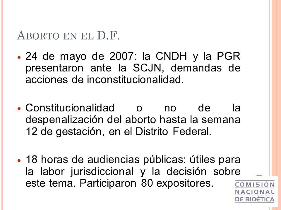 Aborto en el D.F. 24 de mayo de 2007: la CNDH y la PGR presentaron ante la SCJN, demandas de acciones de inconstitucionalidad.