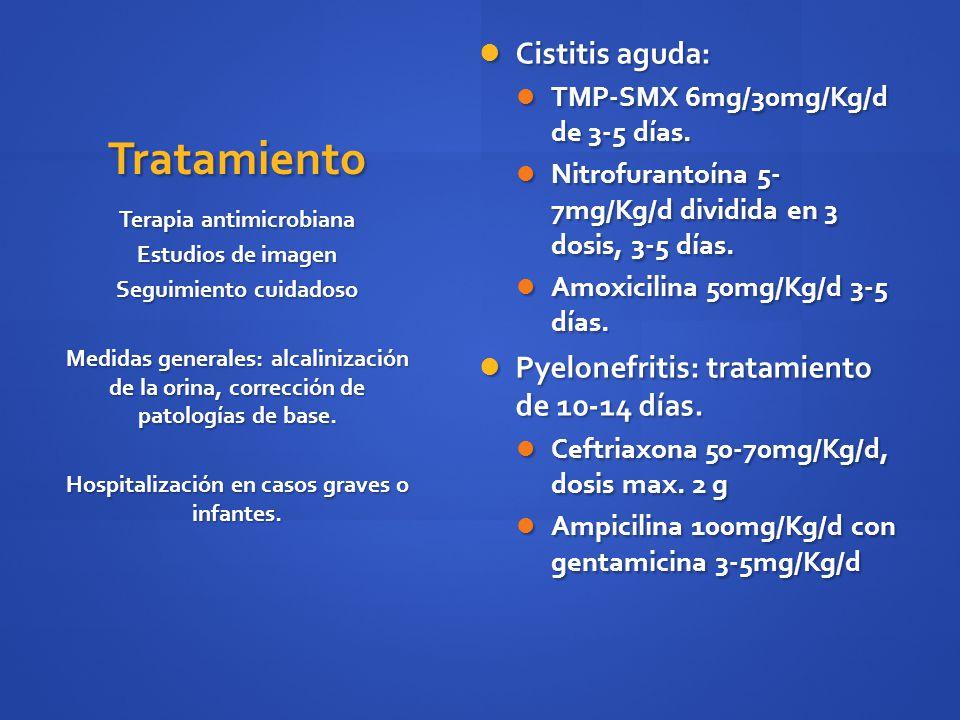Tratamiento Cistitis aguda: Pyelonefritis: tratamiento de 10-14 días.