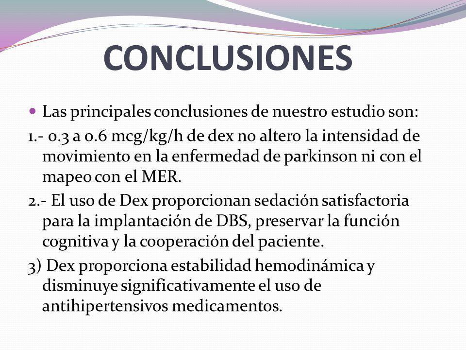 CONCLUSIONES Las principales conclusiones de nuestro estudio son: