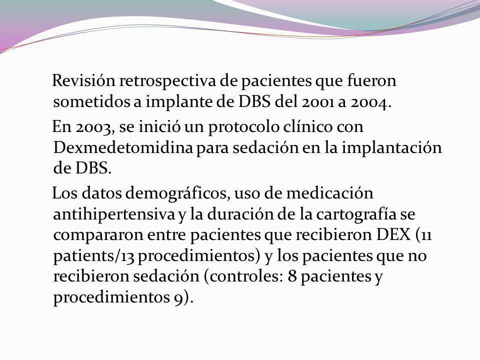 Revisión retrospectiva de pacientes que fueron sometidos a implante de DBS del 2001 a 2004.