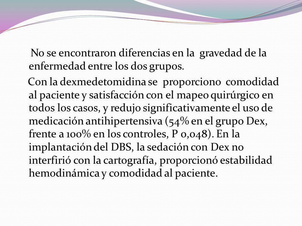 No se encontraron diferencias en la gravedad de la enfermedad entre los dos grupos.