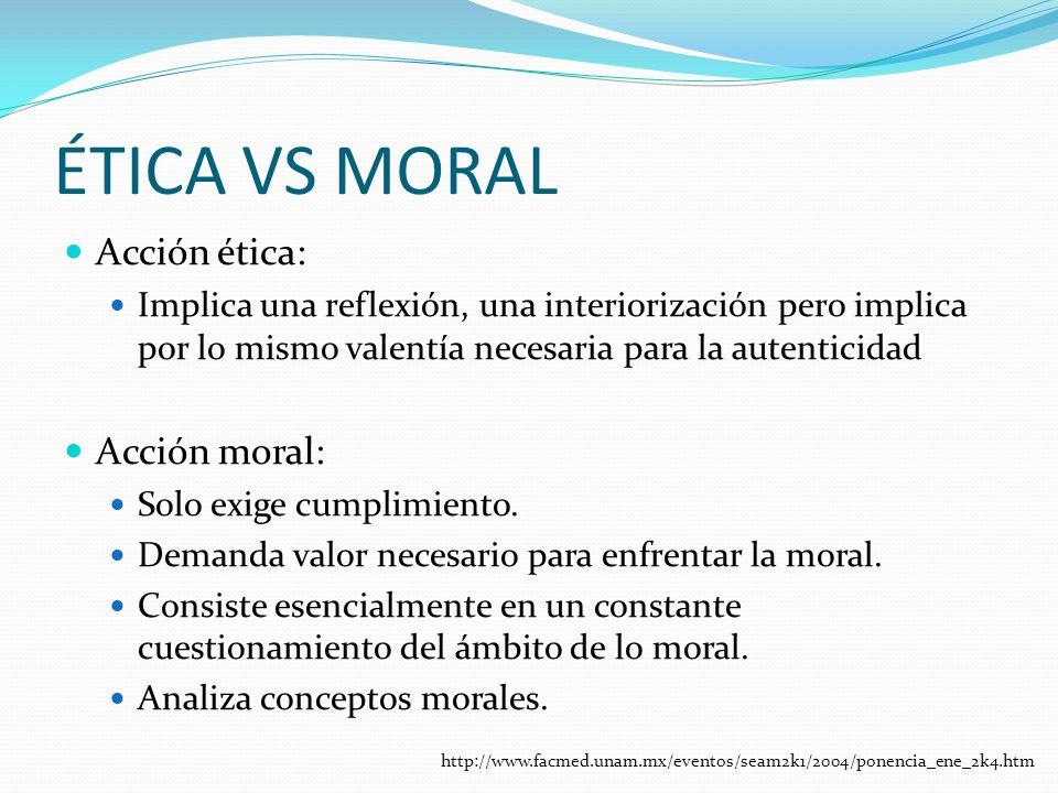 ÉTICA VS MORAL Acción ética: Acción moral: