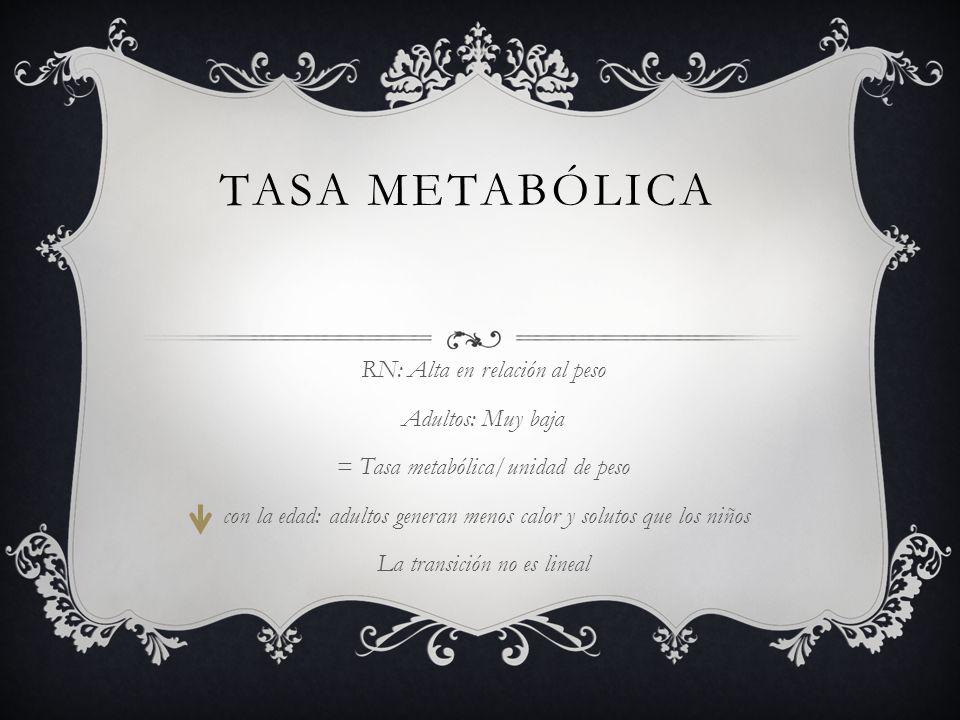 Tasa metabólica RN: Alta en relación al peso Adultos: Muy baja