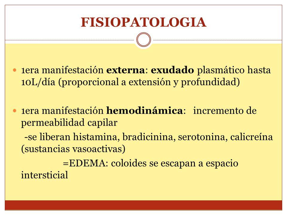 FISIOPATOLOGIA 1era manifestación externa: exudado plasmático hasta 10L/día (proporcional a extensión y profundidad)