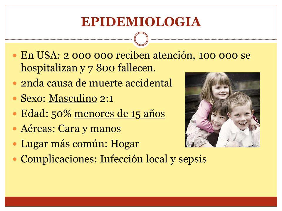EPIDEMIOLOGIA En USA: 2 000 000 reciben atención, 100 000 se hospitalizan y 7 800 fallecen. 2nda causa de muerte accidental.