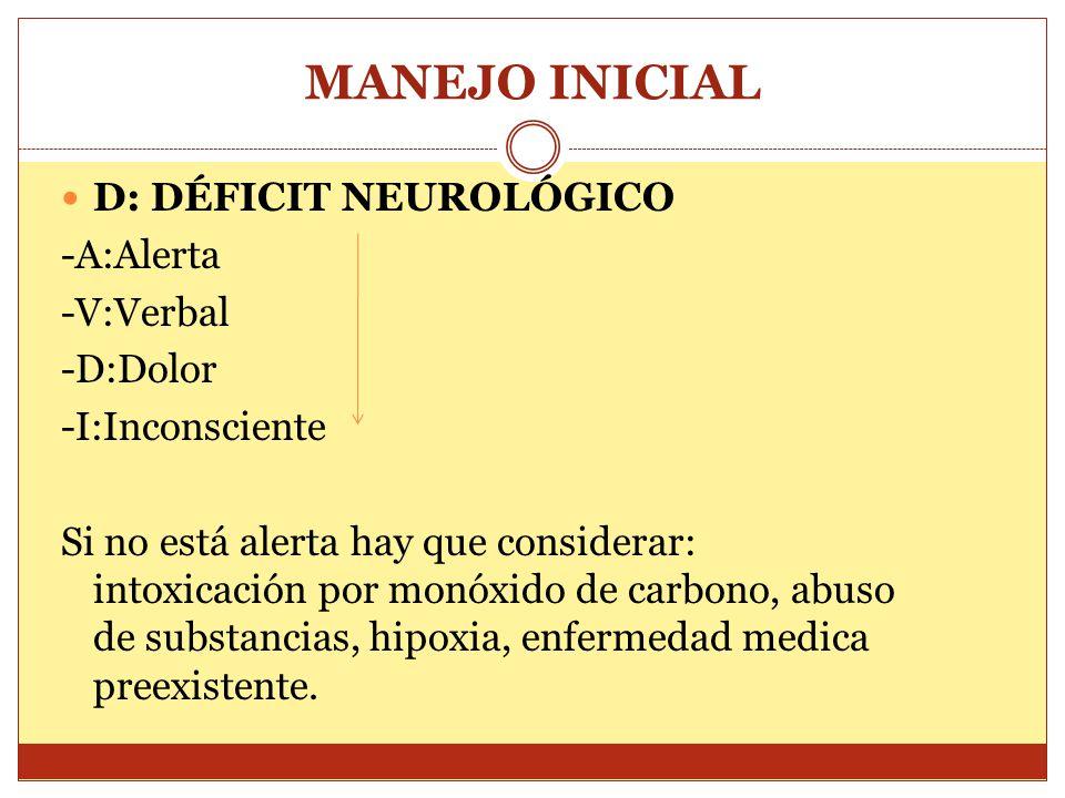 MANEJO INICIAL D: DÉFICIT NEUROLÓGICO -A:Alerta -V:Verbal -D:Dolor
