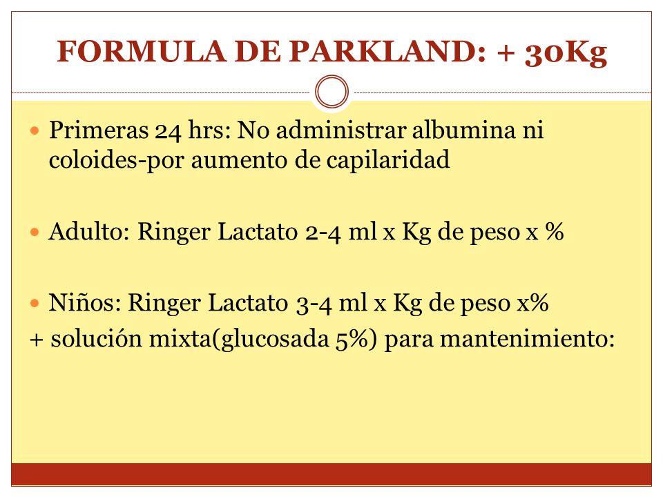 FORMULA DE PARKLAND: + 30Kg