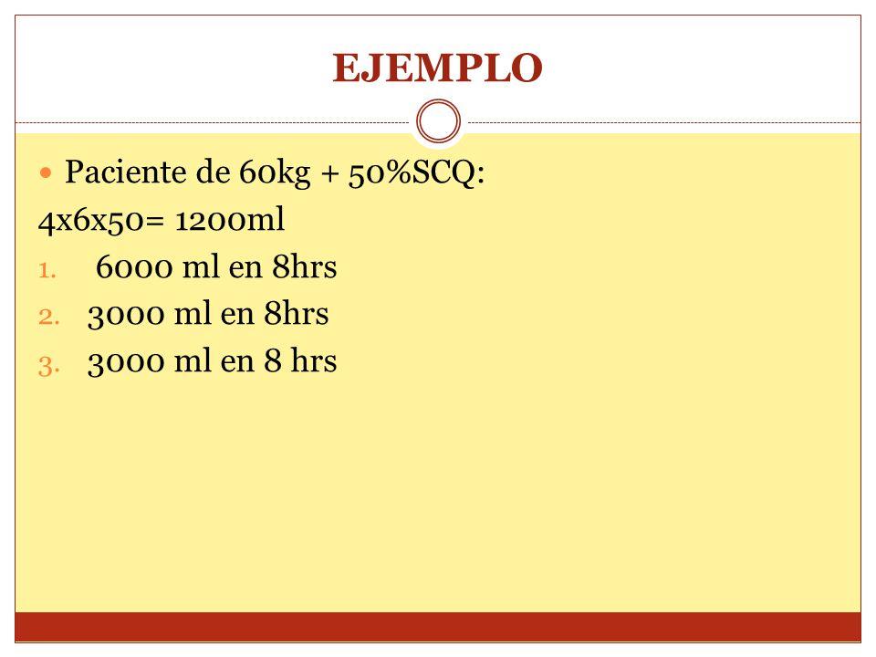 EJEMPLO Paciente de 60kg + 50%SCQ: 4x6x50= 1200ml 6000 ml en 8hrs