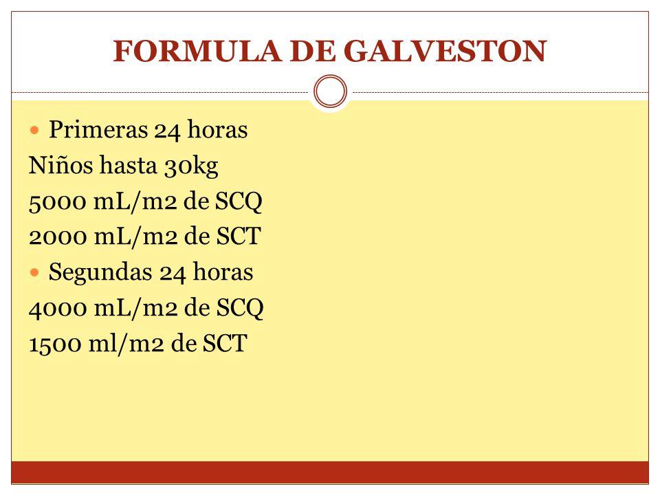 FORMULA DE GALVESTON Primeras 24 horas Niños hasta 30kg