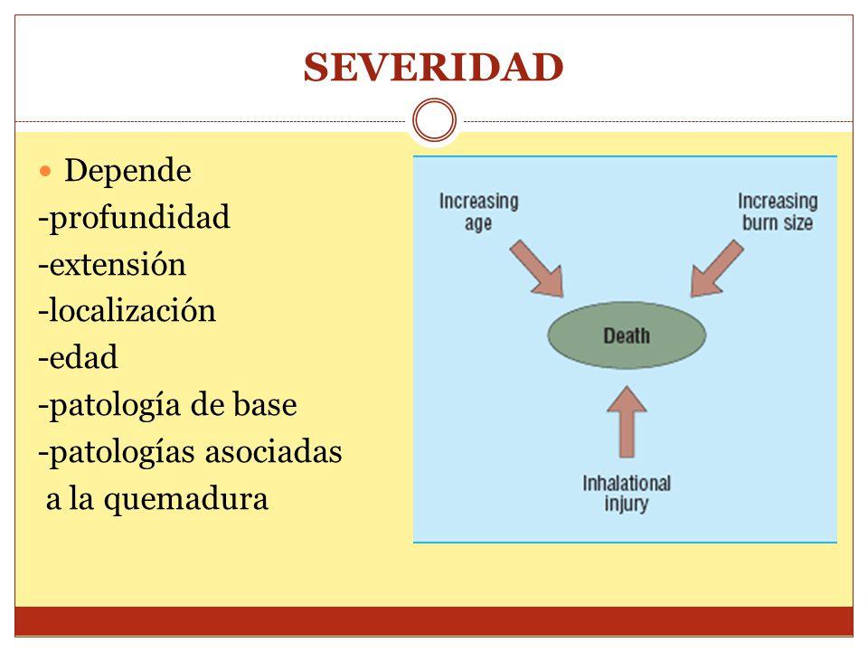 SEVERIDAD Depende -profundidad -extensión -localización -edad