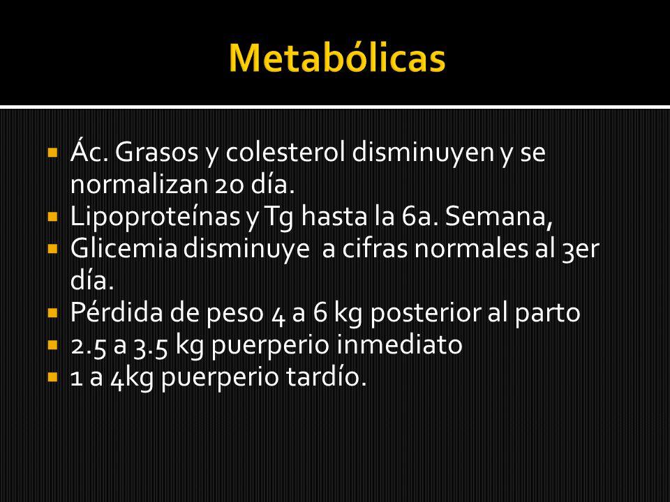 Metabólicas Ác. Grasos y colesterol disminuyen y se normalizan 2o día.