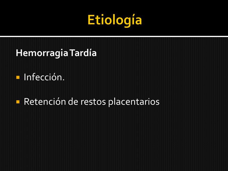 Etiología Hemorragia Tardía Infección.