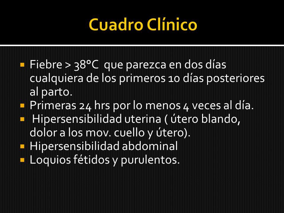 Cuadro Clínico Fiebre > 38°C que parezca en dos días cualquiera de los primeros 10 días posteriores al parto.
