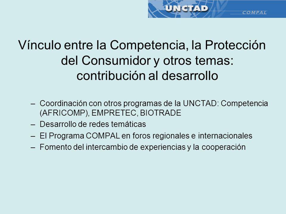 Vínculo entre la Competencia, la Protección del Consumidor y otros temas: contribución al desarrollo