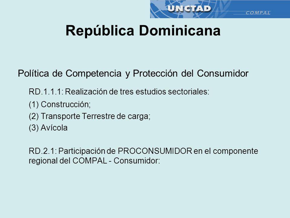República Dominicana Política de Competencia y Protección del Consumidor. RD.1.1.1: Realización de tres estudios sectoriales: