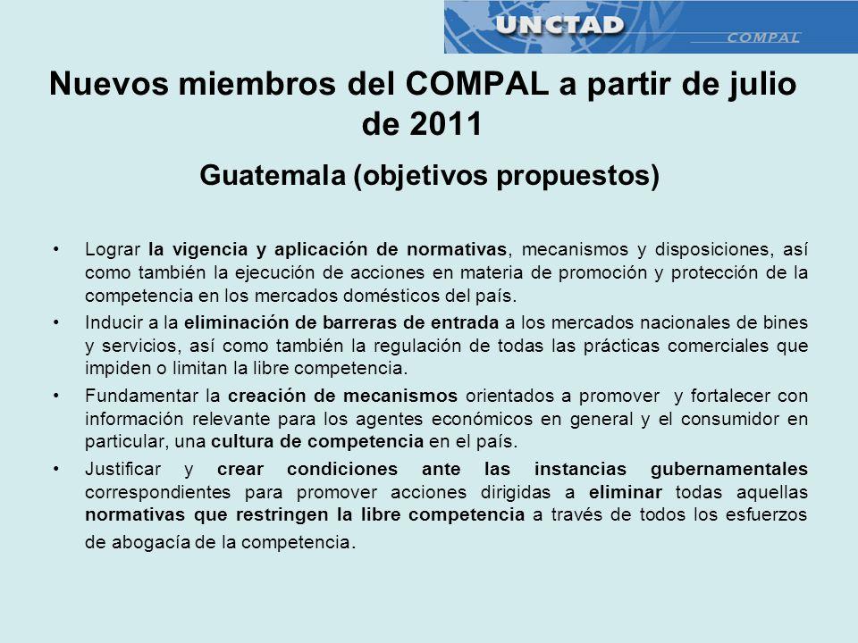 Nuevos miembros del COMPAL a partir de julio de 2011