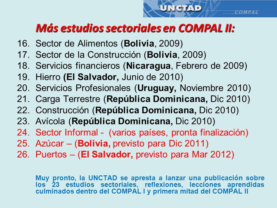 Más estudios sectoriales en COMPAL II: