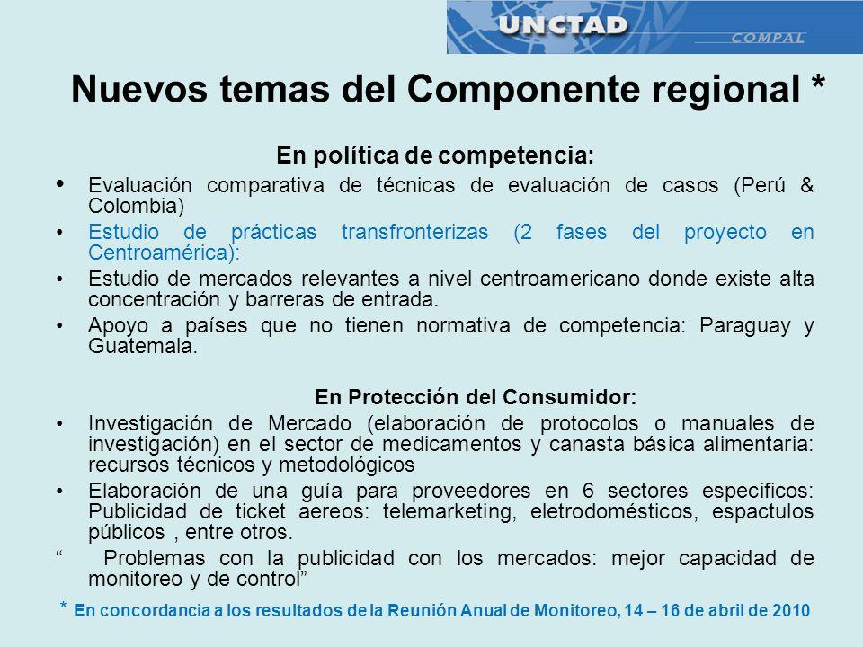Nuevos temas del Componente regional *