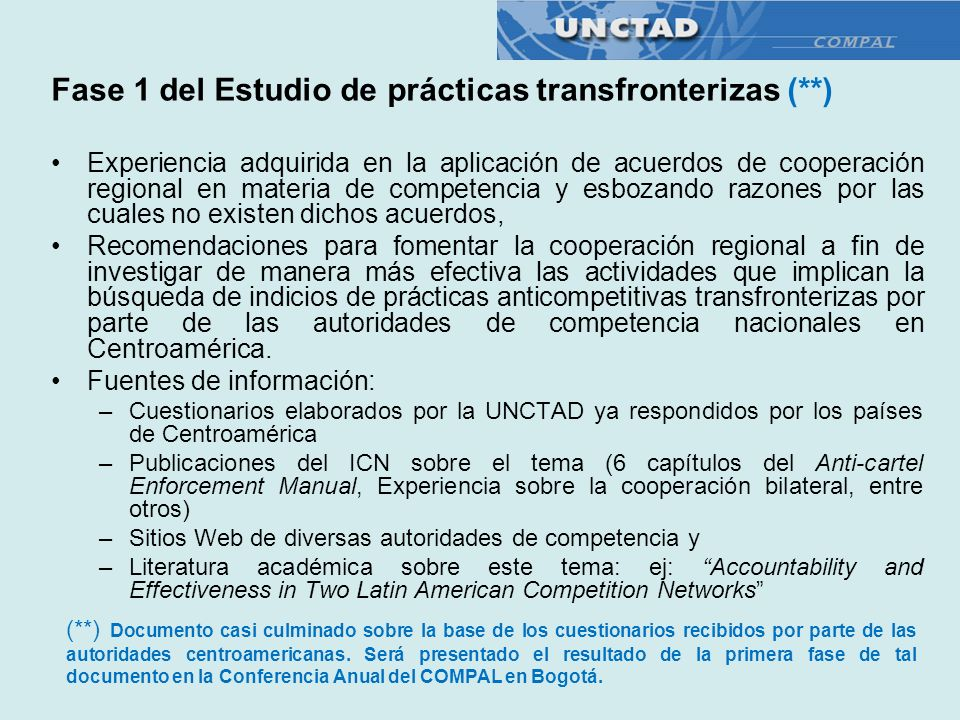 Fase 1 del Estudio de prácticas transfronterizas (**)