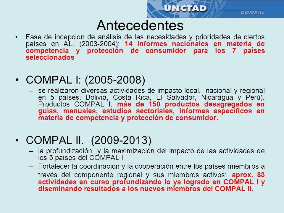 Antecedentes COMPAL I: (2005-2008) COMPAL II. (2009-2013)