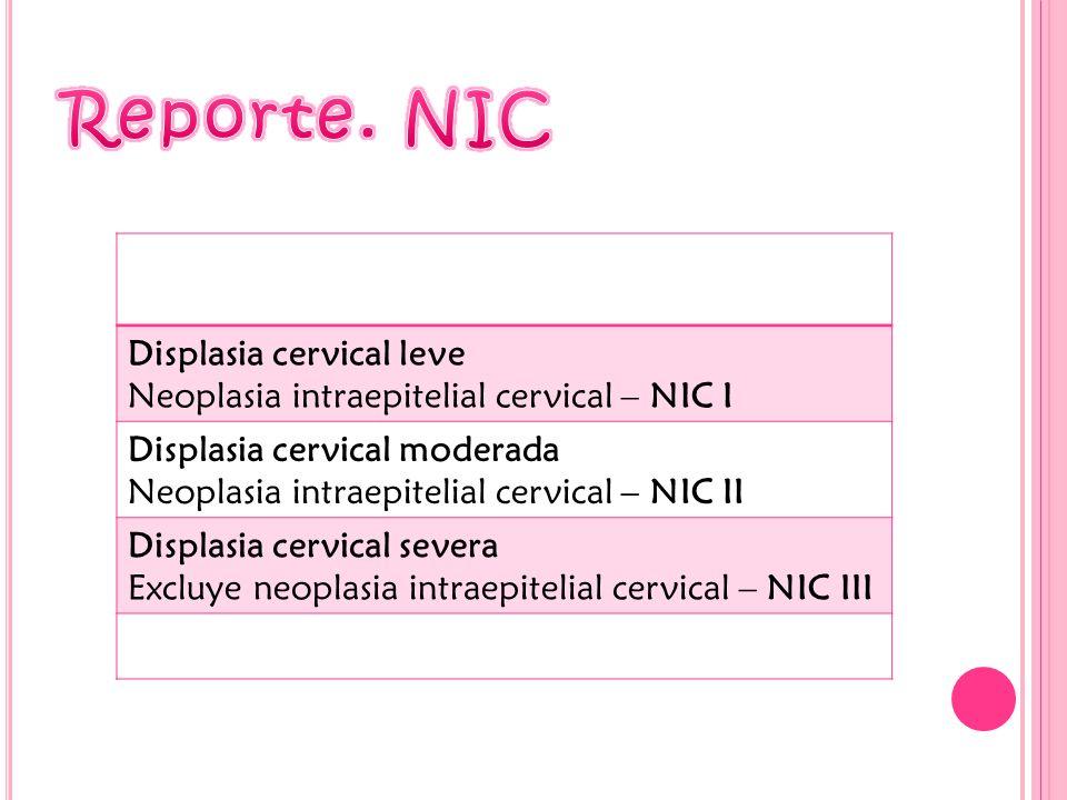 Reporte. NIC Displasia cervical leve