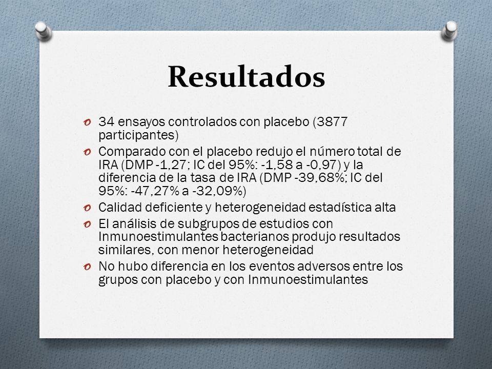 Resultados 34 ensayos controlados con placebo (3877 participantes)