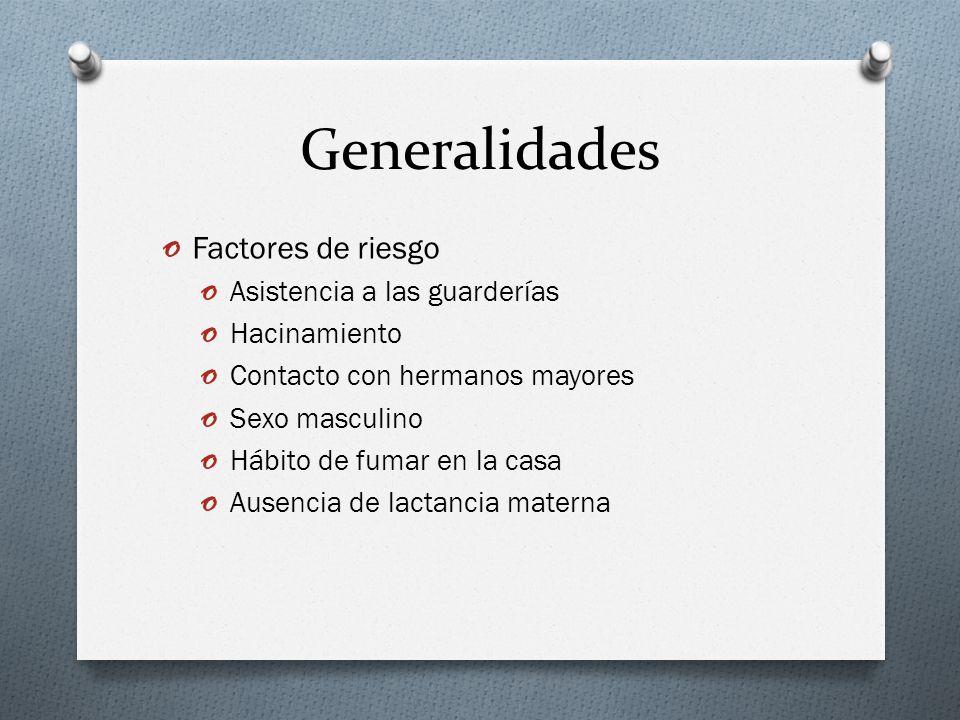Generalidades Factores de riesgo Asistencia a las guarderías