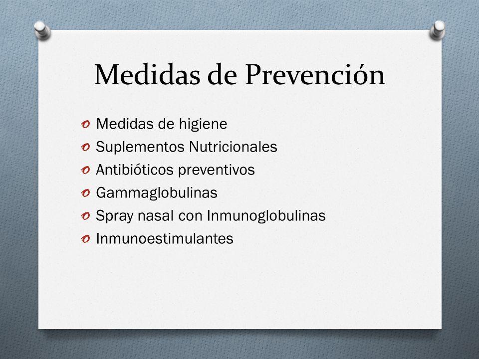 Medidas de Prevención Medidas de higiene Suplementos Nutricionales