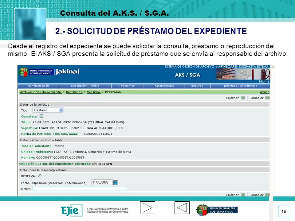 2.- SOLICITUD DE PRÉSTAMO DEL EXPEDIENTE