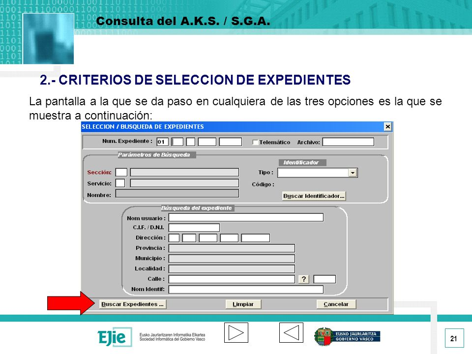2.- CRITERIOS DE SELECCION DE EXPEDIENTES