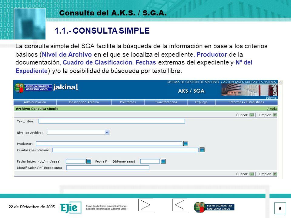 1.1.- CONSULTA SIMPLE Consulta del A.K.S. / S.G.A.