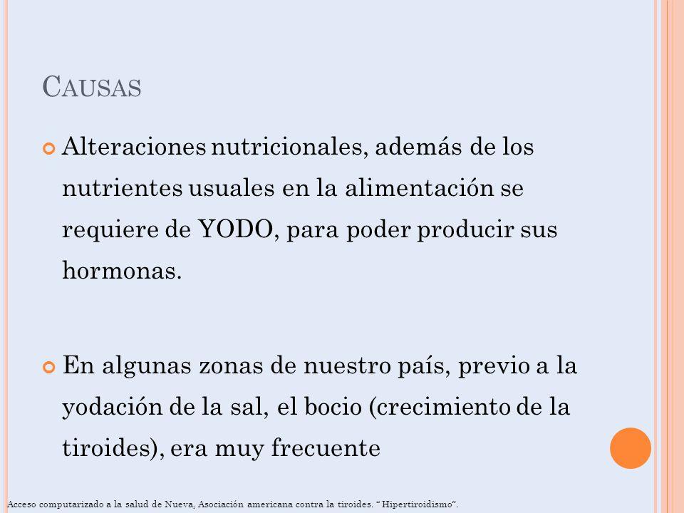 Causas Alteraciones nutricionales, además de los nutrientes usuales en la alimentación se requiere de YODO, para poder producir sus hormonas.