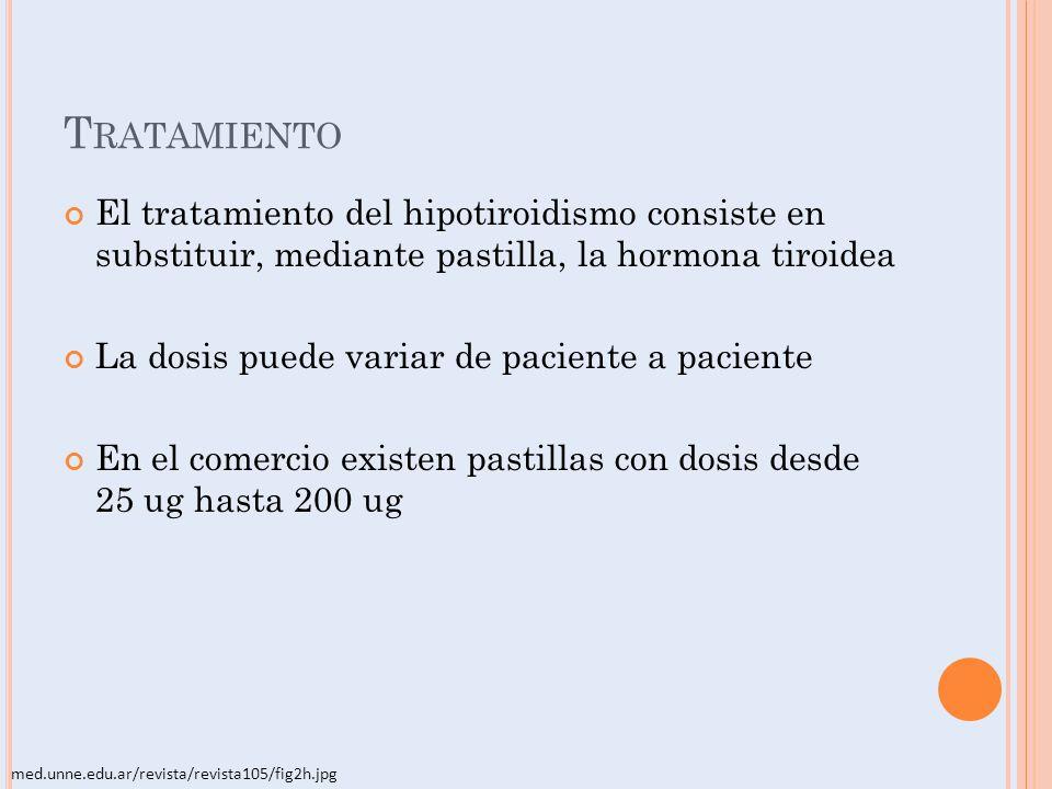 Tratamiento El tratamiento del hipotiroidismo consiste en substituir, mediante pastilla, la hormona tiroidea.