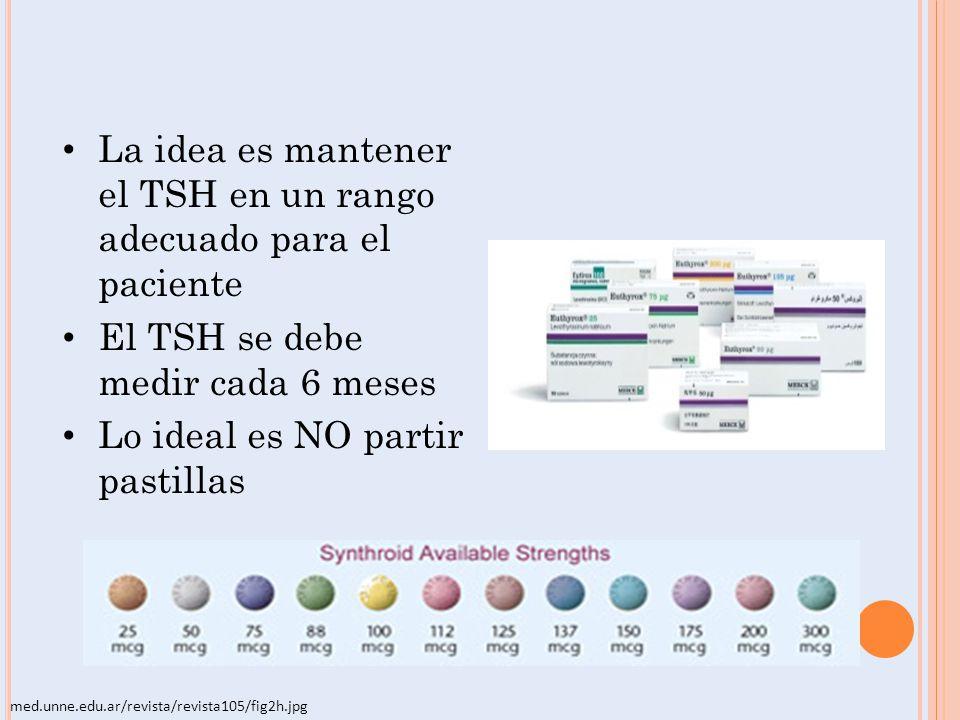La idea es mantener el TSH en un rango adecuado para el paciente