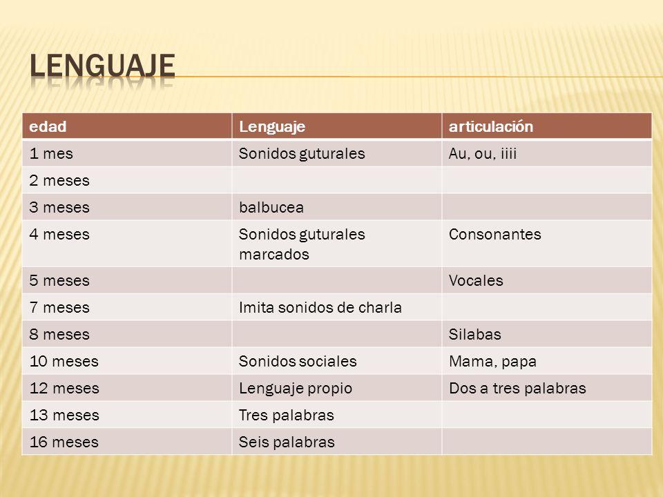 lenguaje edad Lenguaje articulación 1 mes Sonidos guturales