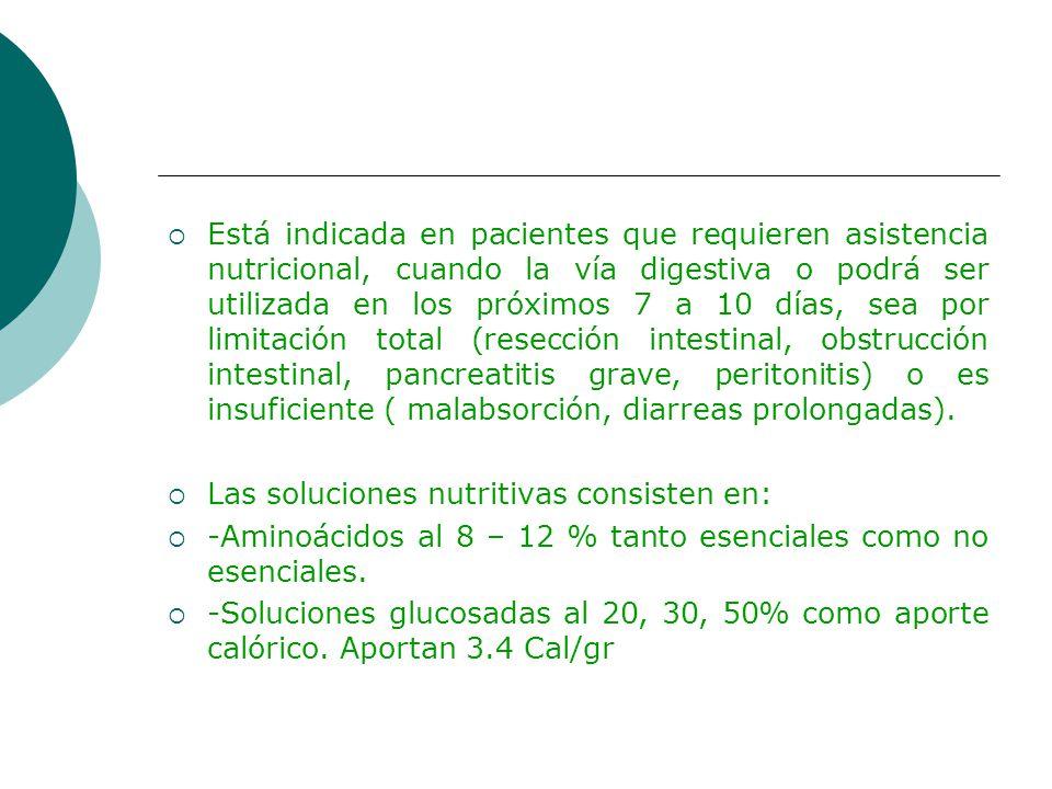 Está indicada en pacientes que requieren asistencia nutricional, cuando la vía digestiva o podrá ser utilizada en los próximos 7 a 10 días, sea por limitación total (resección intestinal, obstrucción intestinal, pancreatitis grave, peritonitis) o es insuficiente ( malabsorción, diarreas prolongadas).