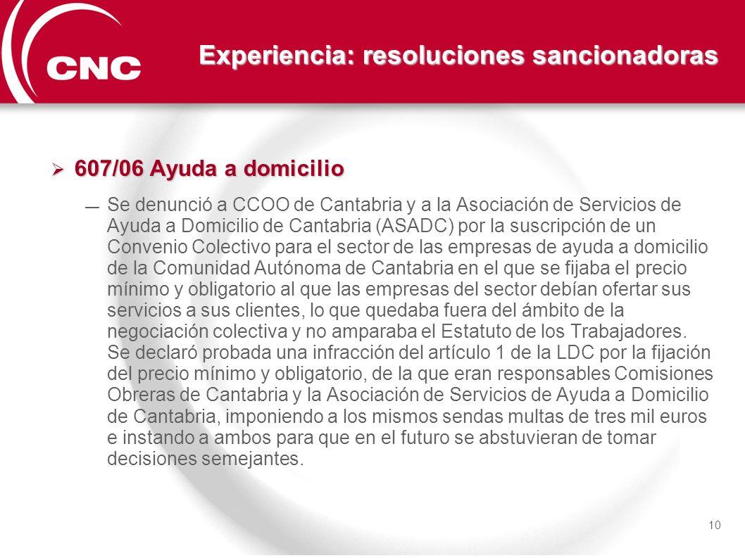 Experiencia: resoluciones sancionadoras