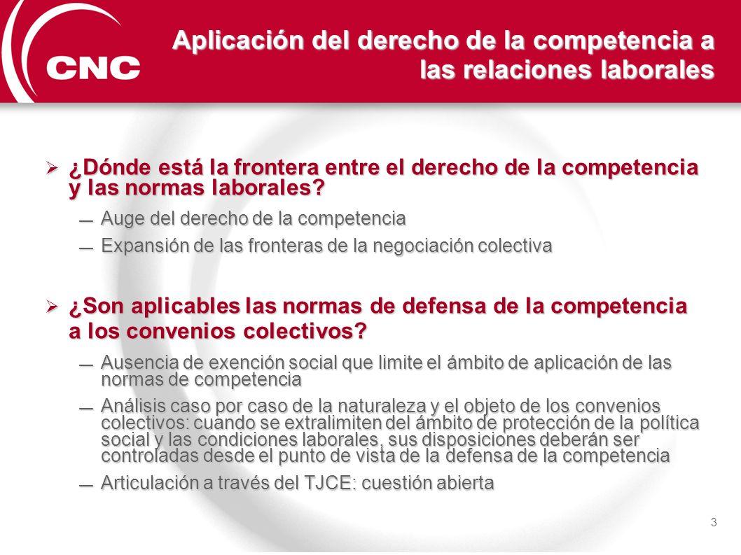 Aplicación del derecho de la competencia a las relaciones laborales
