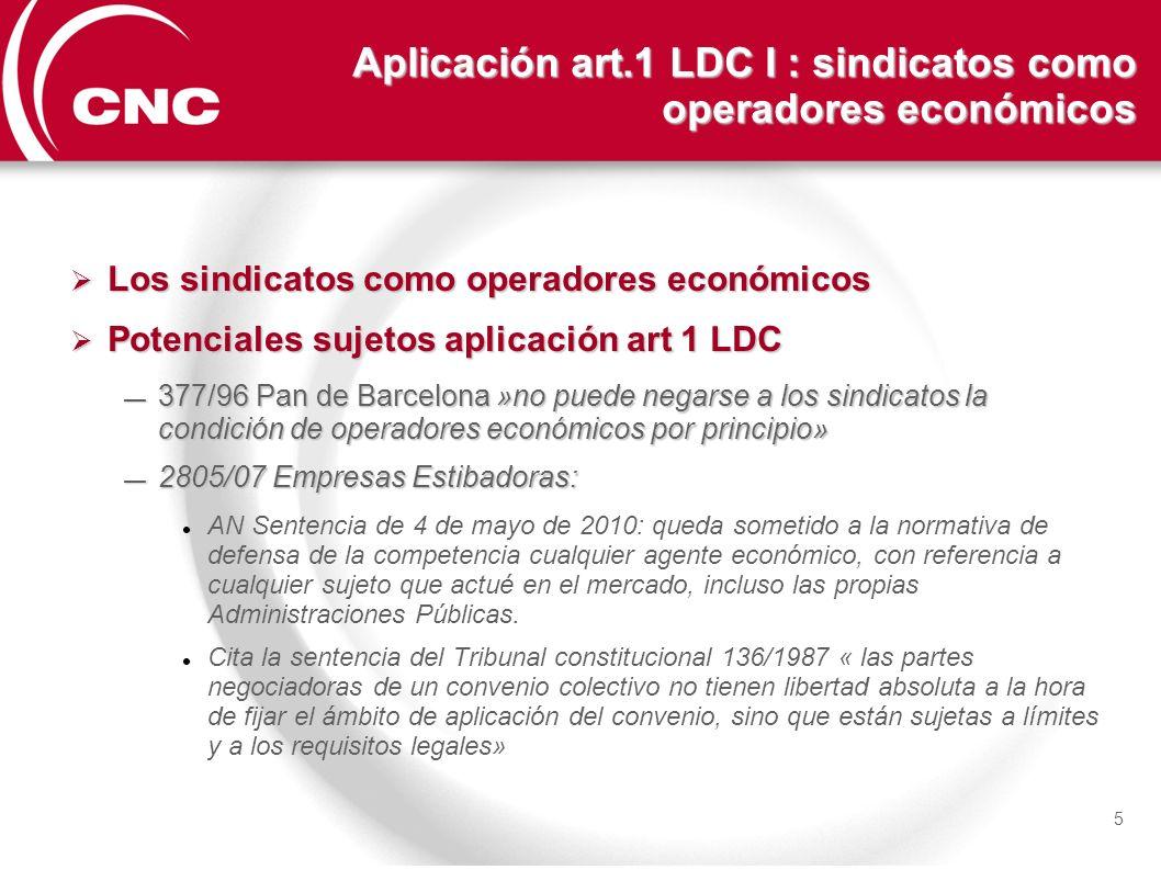 Aplicación art.1 LDC I : sindicatos como operadores económicos