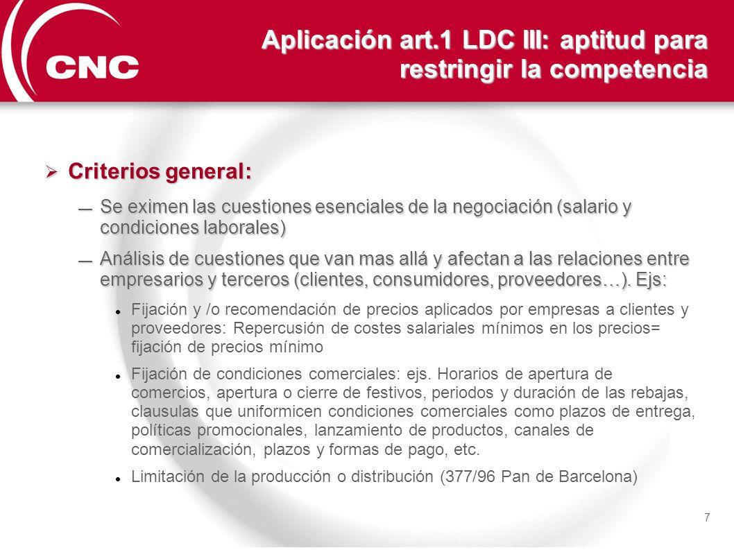 Aplicación art.1 LDC III: aptitud para restringir la competencia