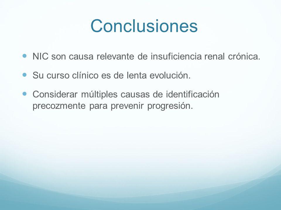 Conclusiones NIC son causa relevante de insuficiencia renal crónica.