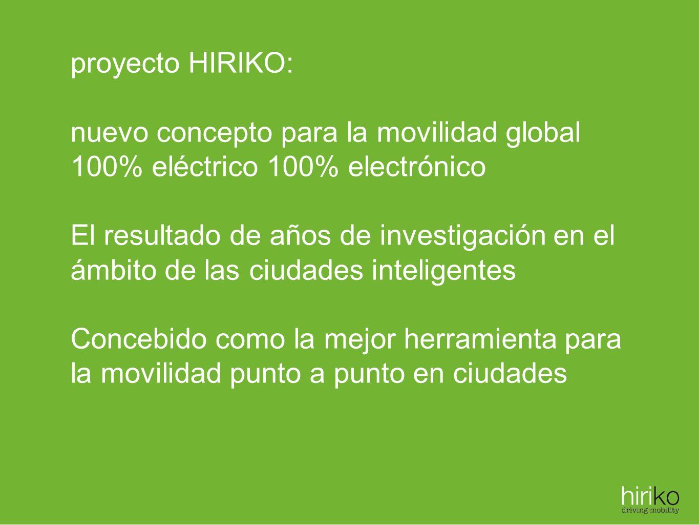 proyecto HIRIKO: nuevo concepto para la movilidad global. 100% eléctrico 100% electrónico.