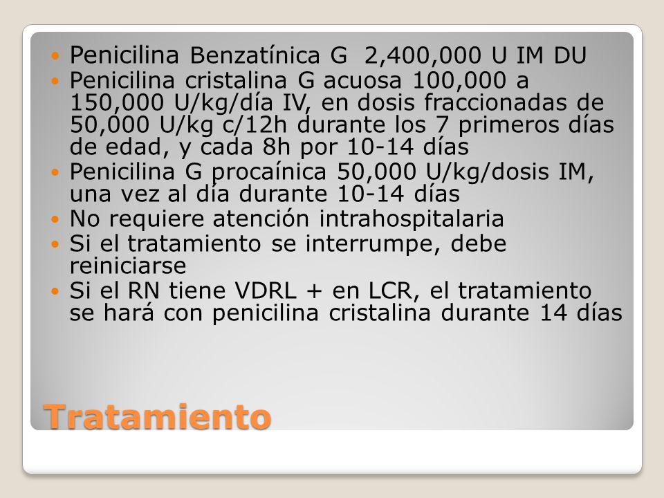 Tratamiento Penicilina Benzatínica G 2,400,000 U IM DU
