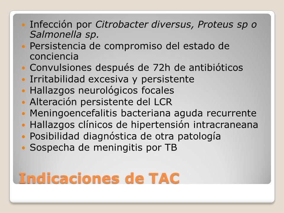 Infección por Citrobacter diversus, Proteus sp o Salmonella sp.
