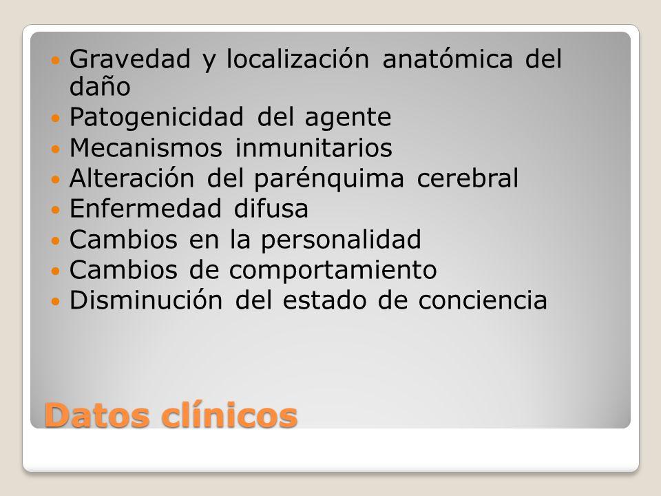 Datos clínicos Gravedad y localización anatómica del daño