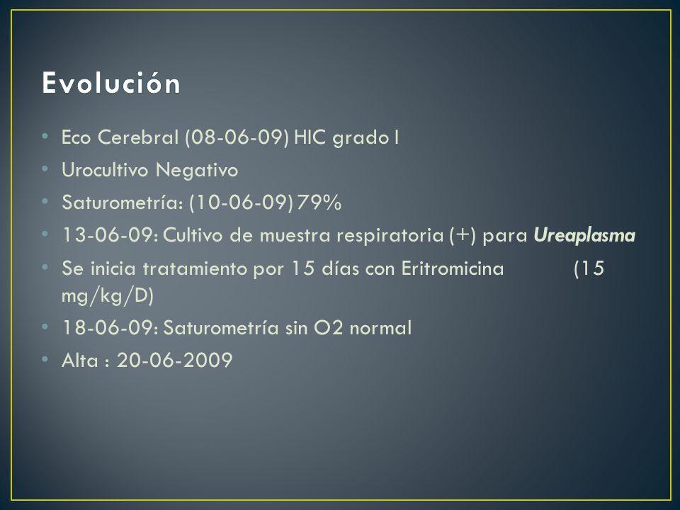 Evolución Eco Cerebral (08-06-09) HIC grado I Urocultivo Negativo