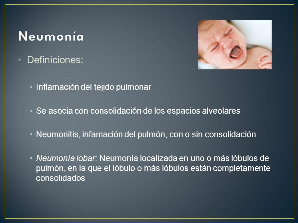 Neumonía Definiciones: Inflamación del tejido pulmonar